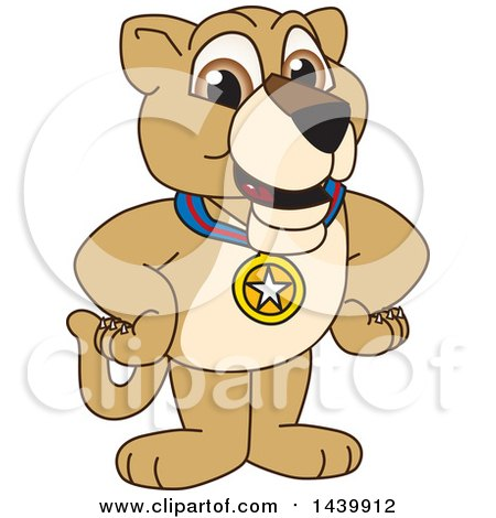 Clipart of a Lion Cub School Mascot Character Wearing a Sports Medal - Royalty Free Vector Illustration by Toons4Biz