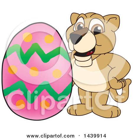 Clipart of a Lion Cub School Mascot Character with an Easter Egg - Royalty Free Vector Illustration by Toons4Biz