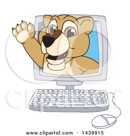 Clipart of a Lion Cub School Mascot Character Emerging from a Computer Screen - Royalty Free Vector Illustration by Toons4Biz