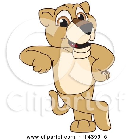 Clipart of a Lion Cub School Mascot Character Leaning - Royalty Free Vector Illustration by Toons4Biz