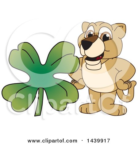 Clipart of a Lion Cub School Mascot Character with a St Patricks Day Clover - Royalty Free Vector Illustration by Toons4Biz