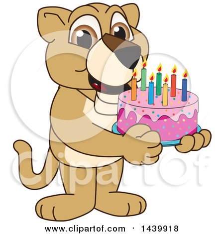 Clipart of a Lion Cub School Mascot Character Holding a Birthday Cake - Royalty Free Vector Illustration by Toons4Biz