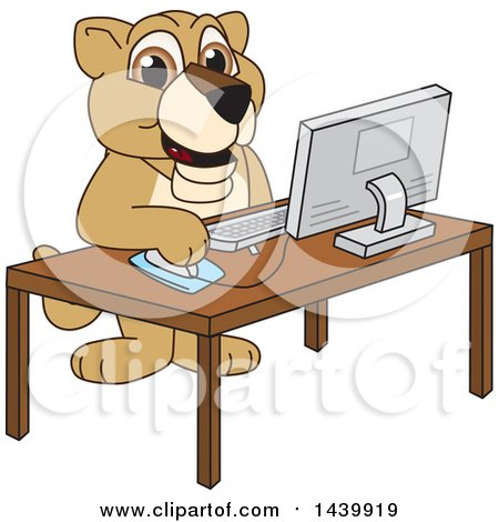 Clipart of a Lion Cub School Mascot Character Using a Computer - Royalty Free Vector Illustration by Toons4Biz