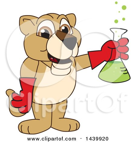 Clipart of a Lion Cub School Mascot Character Holding a Science Flask - Royalty Free Vector Illustration by Toons4Biz