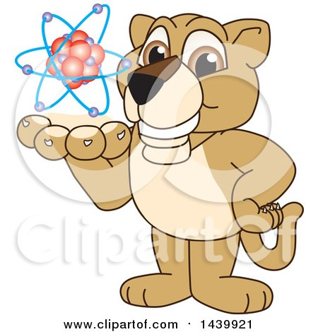 Clipart of a Lion Cub School Mascot Character Holding an Atom - Royalty Free Vector Illustration by Toons4Biz