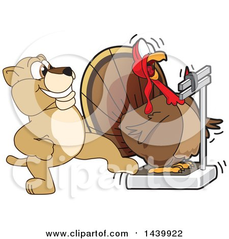 Clipart of a Lion Cub School Mascot Character Stepping on a Scale While a Turkey Is Weighing Himself - Royalty Free Vector Illustration by Toons4Biz