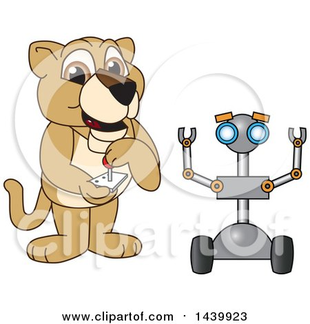 Clipart of a Lion Cub School Mascot Character Operating a Robot - Royalty Free Vector Illustration by Toons4Biz