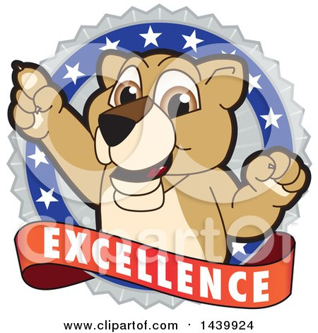 Clipart of a Lion Cub School Mascot Character on an Excellence Badge - Royalty Free Vector Illustration by Toons4Biz