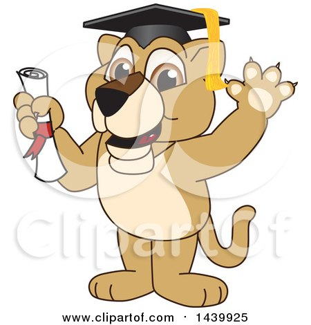 Clipart of a Lion Cub School Mascot Character Graduate - Royalty Free Vector Illustration by Toons4Biz