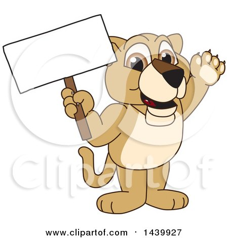Clipart of a Lion Cub School Mascot Character Holding a Blank Sign - Royalty Free Vector Illustration by Toons4Biz