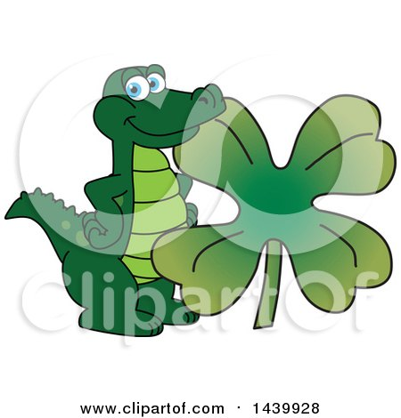 Clipart of a Gator School Mascot Character with a St Patricks Day Clover - Royalty Free Vector Illustration by Toons4Biz
