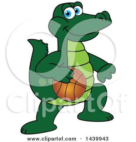 Clipart of a Gator School Mascot Character Playing Basketball - Royalty Free Vector Illustration by Toons4Biz