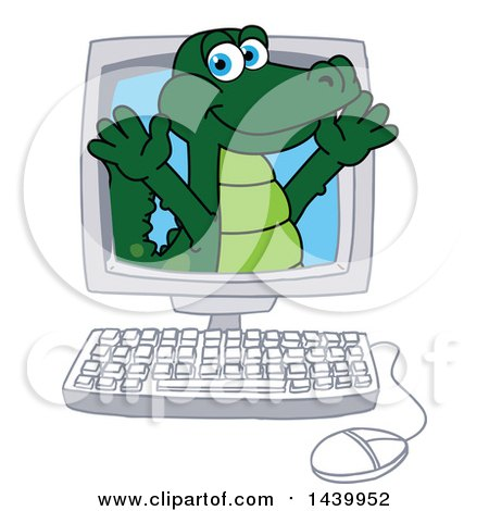 Clipart of a Gator School Mascot Character Emerging from a Computer Screen - Royalty Free Vector Illustration by Toons4Biz