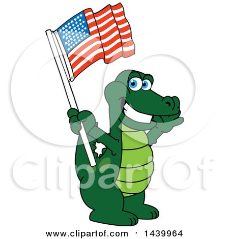 Clipart of a Gator School Mascot Character Waving an American Flag - Royalty Free Vector Illustration by Toons4Biz