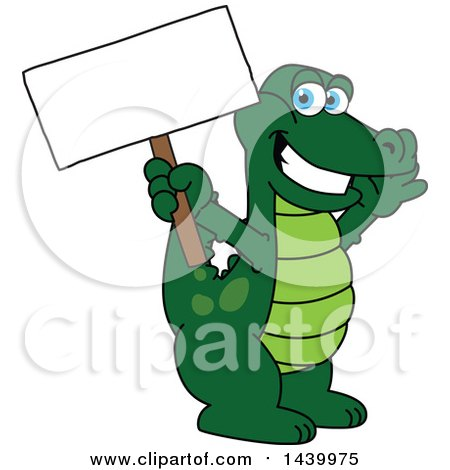 Clipart of a Gator School Mascot Character Holding a Blank Sign - Royalty Free Vector Illustration by Toons4Biz