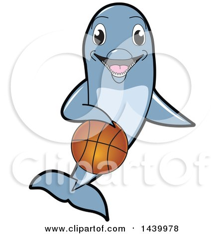 Clipart of a Porpoise Dolphin School Mascot Character Dribbling a Basketball - Royalty Free Vector Illustration by Toons4Biz