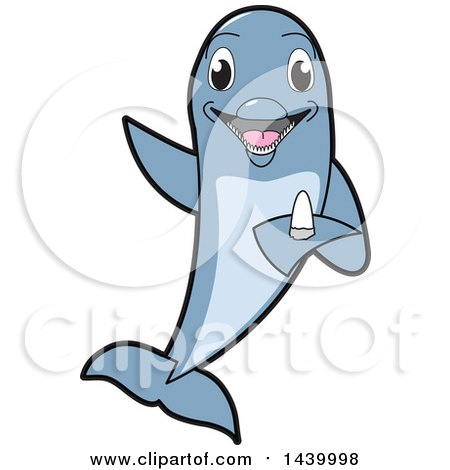 Clipart of a Porpoise Dolphin School Mascot Character Holding a Tooth - Royalty Free Vector Illustration by Toons4Biz