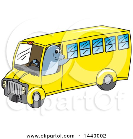 Clipart of a Porpoise Dolphin School Mascot Character Driving a School Bus - Royalty Free Vector Illustration by Toons4Biz