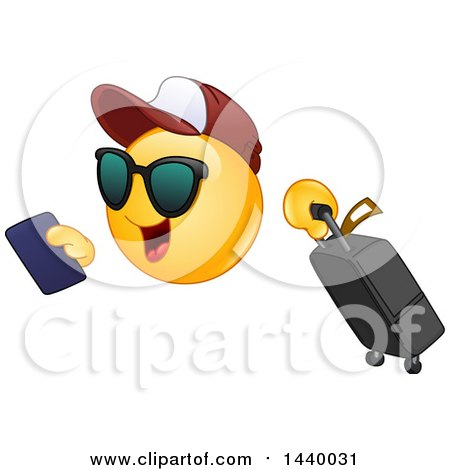 Clipart of a Cartoon Yellow Emoji Smiley Face Emoticon Traveler with a Passport and Suitcase - Royalty Free Vector Illustration by yayayoyo