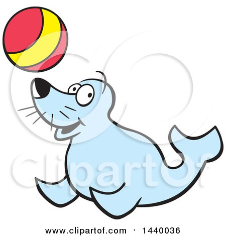Clipart of a Cartoon Happy Seal Playing with a Ball - Royalty Free Vector Illustration by Johnny Sajem