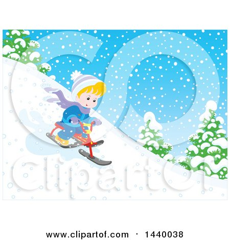 Clipart of a Happy Blond Caucasian Boy Riding a Snow Trike down a Hill - Royalty Free Vector Illustration by Alex Bannykh