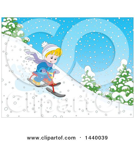 Clipart of a Cartoon Happy Blond White Boy Riding a Snow Trike down a Hill - Royalty Free Vector Illustration by Alex Bannykh
