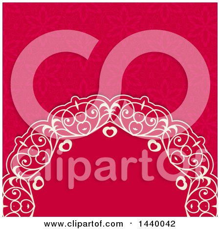 Clipart of a Swirly Ornate Heart and Floral Background - Royalty Free Vector Illustration by KJ Pargeter