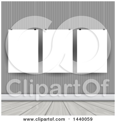 Clipart of Suspended Blank Frames in a Room - Royalty Free Vector Illustration by KJ Pargeter