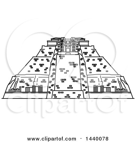 Clipart of a Black and White Line Drawing Styled Mexican Landmark, Uxmal - Royalty Free Vector Illustration by Vector Tradition SM