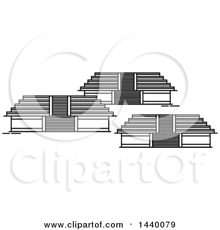 Clipart of a Black and White Line Drawing Styled Mexican Landmark, Teotihuacan - Royalty Free Vector Illustration by Vector Tradition SM