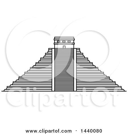 Clipart of a Black and White Line Drawing Styled Mexican Landmark, Chichen Itza - Royalty Free Vector Illustration by Vector Tradition SM
