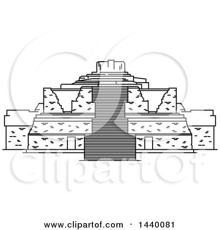 Clipart of a Black and White Line Drawing Styled Mexican Landmark, Ek Balam - Royalty Free Vector Illustration by Vector Tradition SM