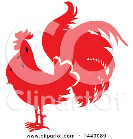 Clipart of a Silhouetted Red Rooster - Royalty Free Vector Illustration by Vector Tradition SM