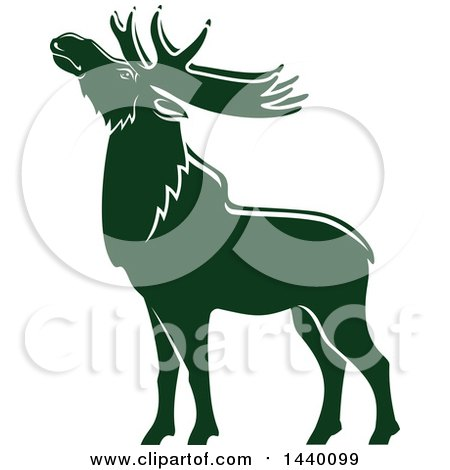 Clipart of a Green Elk in Profile - Royalty Free Vector Illustration by Vector Tradition SM