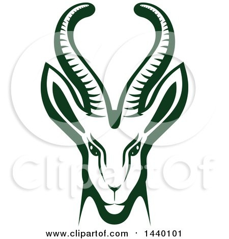Clipart of a Green Gazelle or Saiga Antelope Head - Royalty Free Vector Illustration by Vector Tradition SM