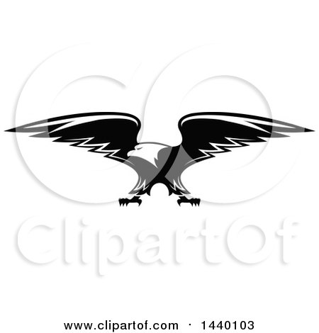 Clipart of a Black and White Bald Eagle - Royalty Free Vector Illustration by Vector Tradition SM