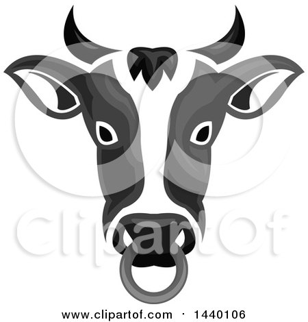 Clipart of a Grayscale Cow Head with a Nose Ring - Royalty Free Vector Illustration by Vector Tradition SM