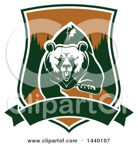 Clipart of a White and Green Running Angry Grizzly Bear in a Shield - Royalty Free Vector Illustration by Vector Tradition SM