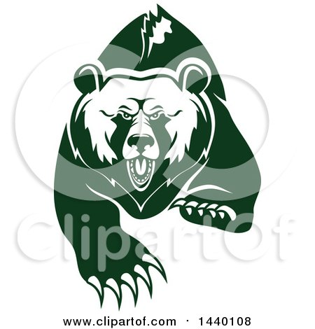 Clipart of a White and Green Running Angry Grizzly Bear - Royalty Free Vector Illustration by Vector Tradition SM