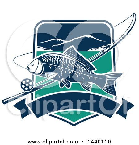 Clipart of a Carp Fish over a Shield with a Fishing Pole and Banner - Royalty Free Vector Illustration by Vector Tradition SM