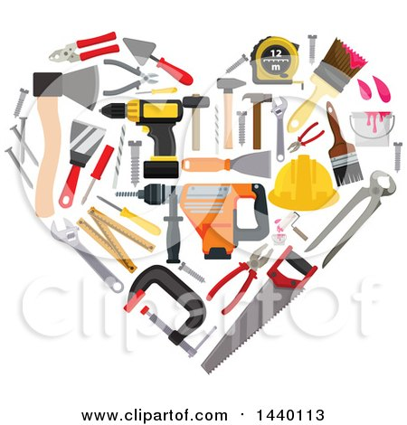 Clipart of a Heart Made of Carpentry Tools - Royalty Free Vector Illustration by Vector Tradition SM
