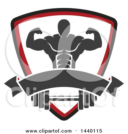 Clipart of a Silhouetted Flexing Male Bodybuilder in a Shield over a Banner and Barbell - Royalty Free Vector Illustration by Vector Tradition SM
