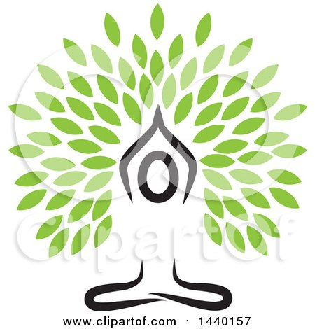 Clipart Of A Meditating Person In A Yoga Pose With Leaves Royalty Free Vector Illustration