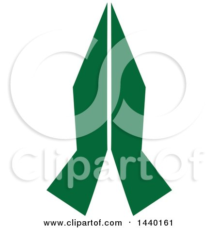Clipart of a Pair of Green Prayer or Namaste Hands - Royalty Free Vector Illustration by ColorMagic