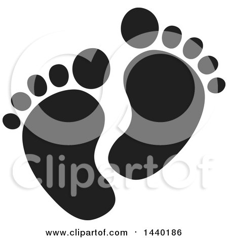 Clipart of a Black and White Pair of Footprints - Royalty Free Vector Illustration by ColorMagic
