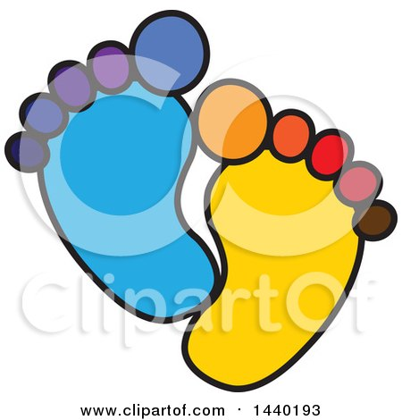 Clipart of a Colorful Pair of Footprints - Royalty Free Vector Illustration by ColorMagic