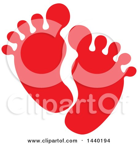Clipart of a Pair of Red Footprints - Royalty Free Vector Illustration by ColorMagic