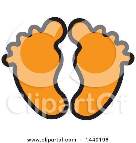 Clipart of a Pair of Orange Footprints - Royalty Free Vector Illustration by ColorMagic