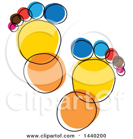 Clipart of a Colorful Sketched Pair of Footprints - Royalty Free Vector Illustration by ColorMagic