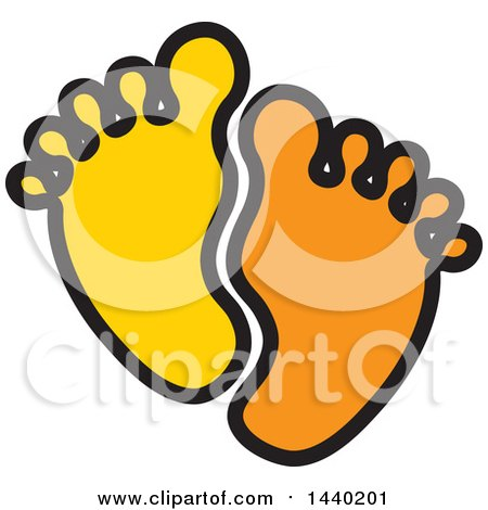 Clipart of a Pair of Yellow and Orange Footprints - Royalty Free Vector Illustration by ColorMagic